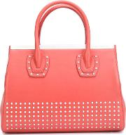 Studded Tote Women Lamb Skin One Size, Red