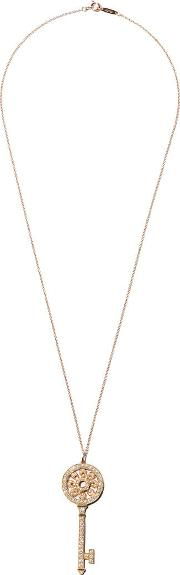 18kt Rose Gold Tiffany Keys Diamond Petals Key Pendant