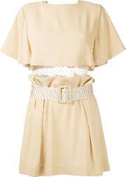 Pleated Trim Belted Dress Women Polyesteracetate 38, Women's, Brown
