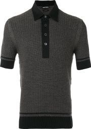 Textured Jaquard Polo Shirt Men Silkcottoncashmere 50, Black
