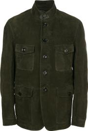 Tom Ford Military Style Jacket Men Cottonleatherrayon 54, Brown