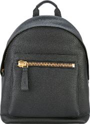 Zip Detail Backpack Men Cottoncalf Leatherpolyesterbrass One Size, Black