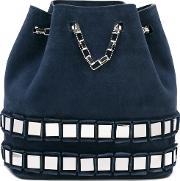 Embellished Bucket Tote Women Metal Other calf Suede One Size, Blue