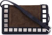 Mirror Squares Crossbody Bag Women Leathersuede One Size, Women's, Black