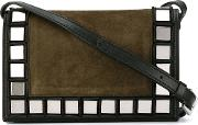 Stud Detail Cross Body Bag Women Leathercalf Suede One Size, Black