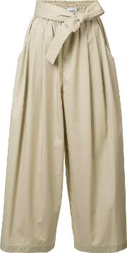 Cropped Drawstring Flared Trousers Women Cotton S, Nudeneutrals