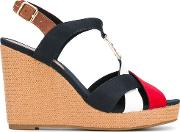 Colourblock Wedge Sandals Women Leathertactelrubber 36, Blue
