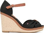 Crossed Front Wedge Sandals Women Leathertactelrubber 38, Black