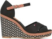 Woven Wedge Sandals Women Cottonleatherrubber 37, Black
