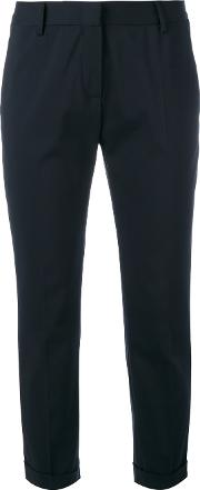 Cropped Tailored Trousers Women Cottonpolyestercupropbt Elite 46, Blue