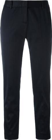 Side Piping Cropped Trousers Women Cottonspandexelastaneviscose 40, Blue