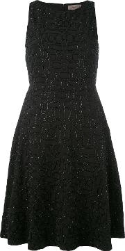 Embroidered Shift Dress Women Polyester 36, Black