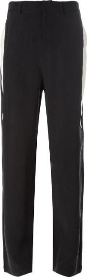 Side Stripe Trousers Women Silkpolyester 42, Black