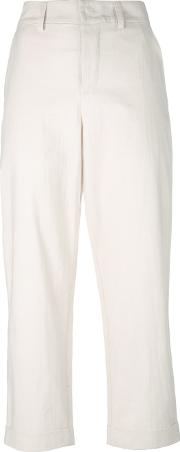 Tapered Cropped Trousers Women Cotton 0, Women's, Nudeneutrals