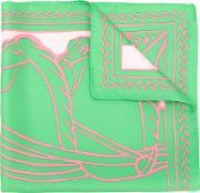 Abstract Print Scarf Women Silk One Size, Women's, Green