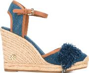Denim Wedge Sandals Women Cottonraffialeatherrubber 7, Blue