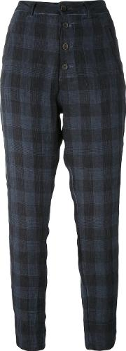 Checked Trousers Women Linenflax 40, Blue