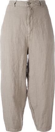 Cropped Trousers Women Linenflax 2, Brown