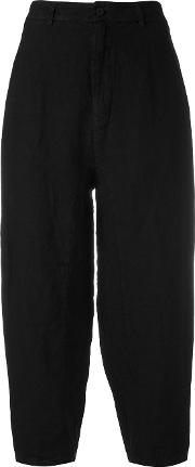 Cropped Trousers Women Linenflax 4, Black