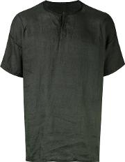 Henley T Shirt Men Linenflax M, Green
