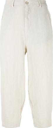 High Waisted Loose Fitting Trousers Women Linenflaxcottonpolyamide 40, Nudeneutrals