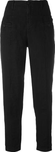 High Waisted Trousers Women Linenflax 4, Black