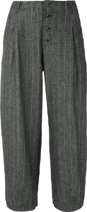 Pinstripe Cropped Trousers Women Linenflaxcottonviscose 40, Grey