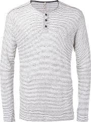 Striped Longsleeved T Shirt Men Linenflax M, Grey