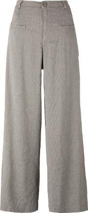 Wide Leg Cropped Trousers Women Linenflaxspandexelastaneviscose 36, Brown