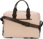 Fabric Leather Briefcase Men Leathercanvas One Size, Nudeneutrals
