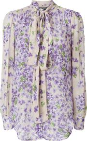 Twin Set Floral Print Pussybow Blouse