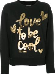 Twin Set 'love To Be Cool' Sweater Women Cottonpolyesterspandexelastane M, Black