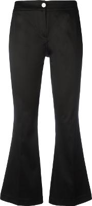 Flared Cropped Trousers Women Cottonspandexelastane 42, Black