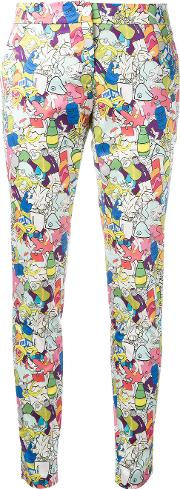 Garbage Print Skinny Trousers Women Cottonspandexelastane 44