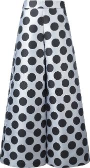 Polka Dot Palazzo Pants Women Silkpolyester 42, Women's, Black