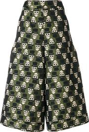 Ultrachic Skull Embroidered Cropped Trousers