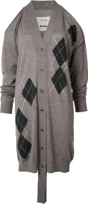 Cut Off Midi Cardigan Women Cashmere M, Brown