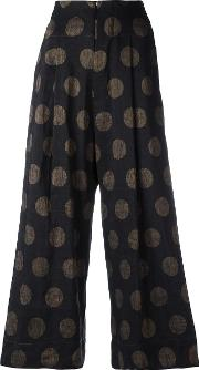 Dotted Cropped Trousers Women Cottonlinenflaxpolyester M, Black