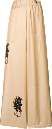 Flower Embroidered Palazzo Pants