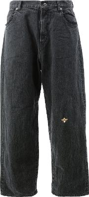Undercover Bee Embroidered Flared Jeans Women Cottonpolyester 3, Black