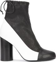 Cylinder Heel Boots Women Leather 10, Black