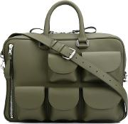 Multi Pockets Briefcase Men Leather One Size, Green