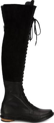 Thigh High Lace Up Boots Women Leather 6, Black
