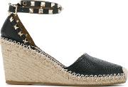 Garavani Rockstud Double Wedge Sandals Women Leathermetalrubber 41, Black