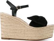 Garavani Woven Wedge Sandals Women Leathersuede 37, Black