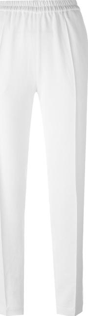 Elastic Waistband Trousers Women Polyester 36, White