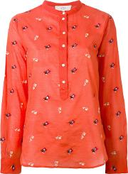 Embroidered Henley Blouse Women Cotton 40, Women's, Red