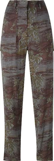 Printed Trousers Women Viscose 36, Green