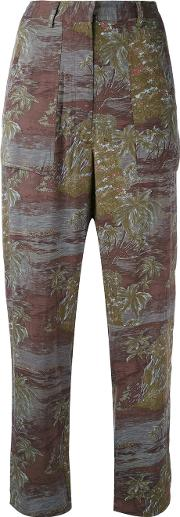 Vanessa Bruno Athe Printed High Waisted Trousers Women Viscose 34, Green