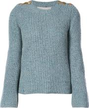Buttoned Shoulders Sweater